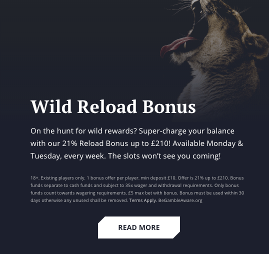 21 Casino Wild Reload Bonus