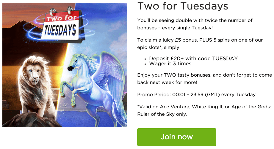 Casino.com 2 for tuesday