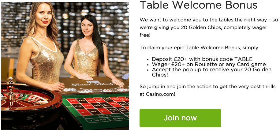 Casino.com table welcome bonus