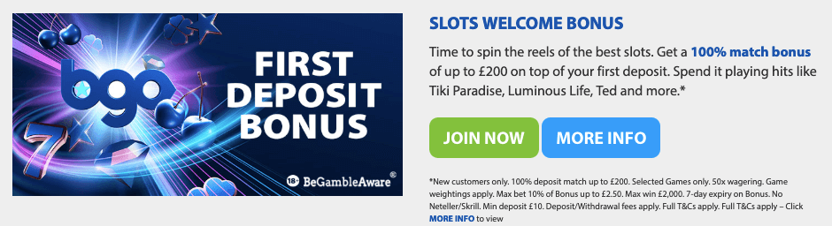 GBO slots welcome bonus