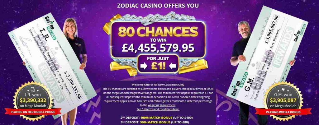 screenshot zodiac casino interface