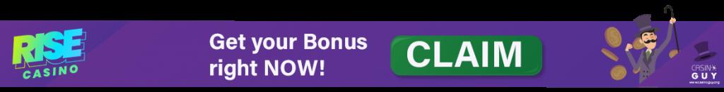 rise casino banner bonus