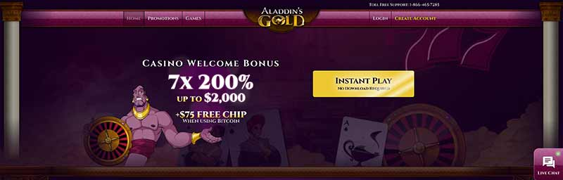 aladdin slots casino interface screenshot
