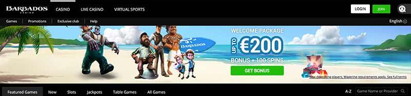 screenshot barbados casino interface