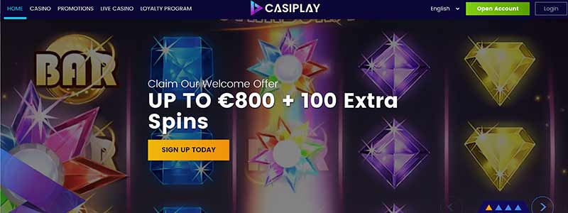 screenshot casiplay casino interface