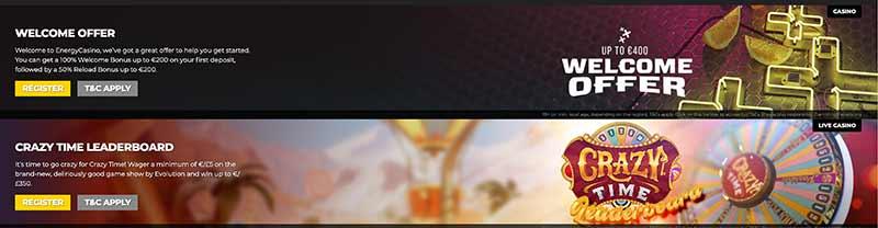 energy casino bonus screenshot