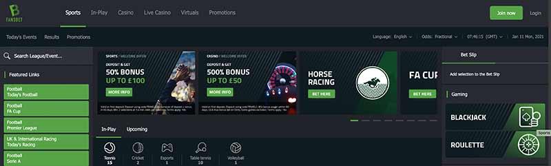 screenshot fansbet casino interface