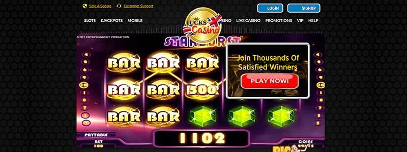 screenshot lucks casino interface