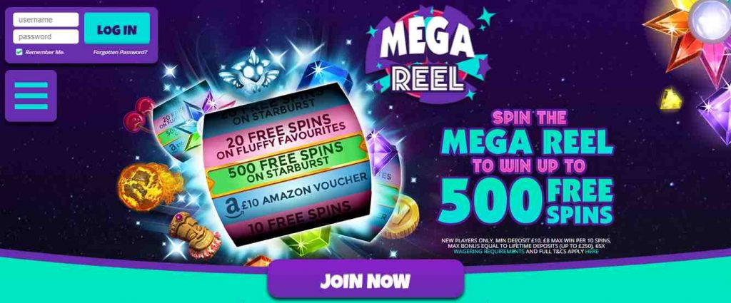 screenshot mega reel casino interface