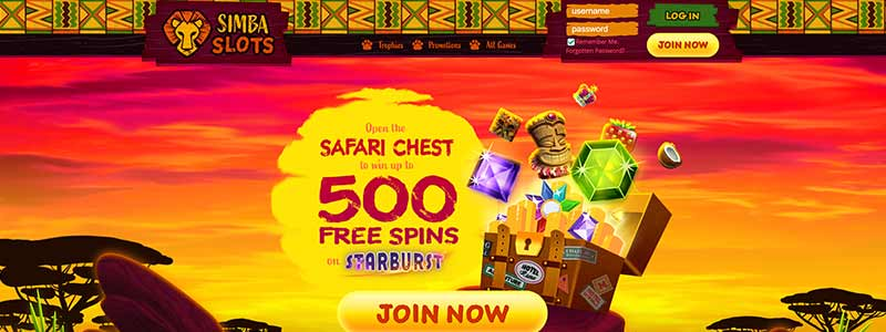 simba slots casino bonus interface