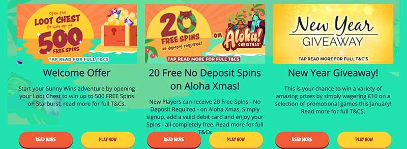 screenshot sunny wins bonus