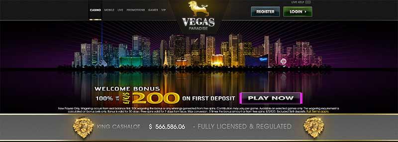 vegas paradise interface screenshot