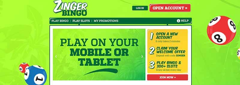 screenshot zinger bingo interface