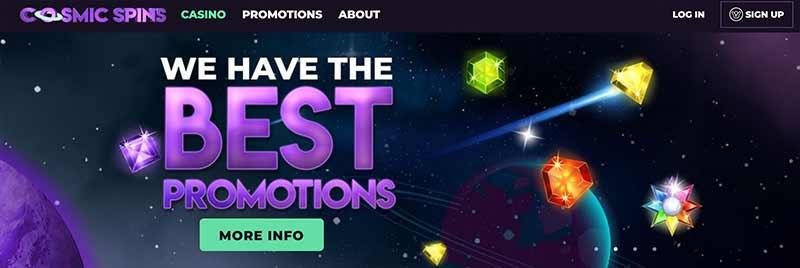 cosmic spins casino interface screenshot