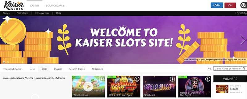 kaiser slot interface screenshot