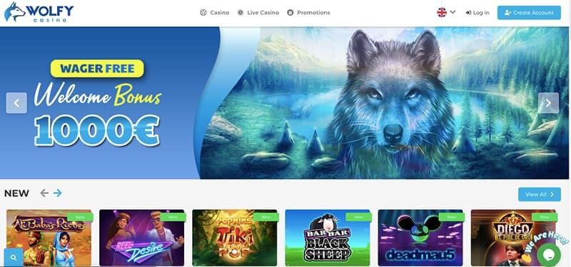 wolfy casino interface