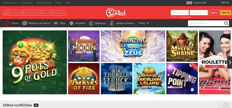 32 red casino screenshot games