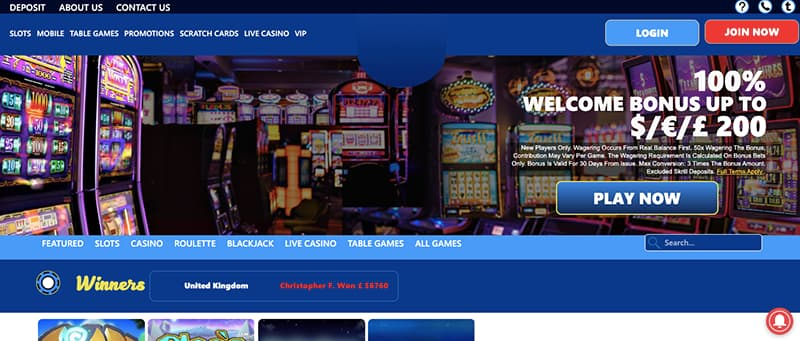 slots ltd homepage screenshot